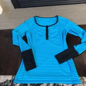Lululemon Run Sport Luxtreme Henley Blue Stripes 6